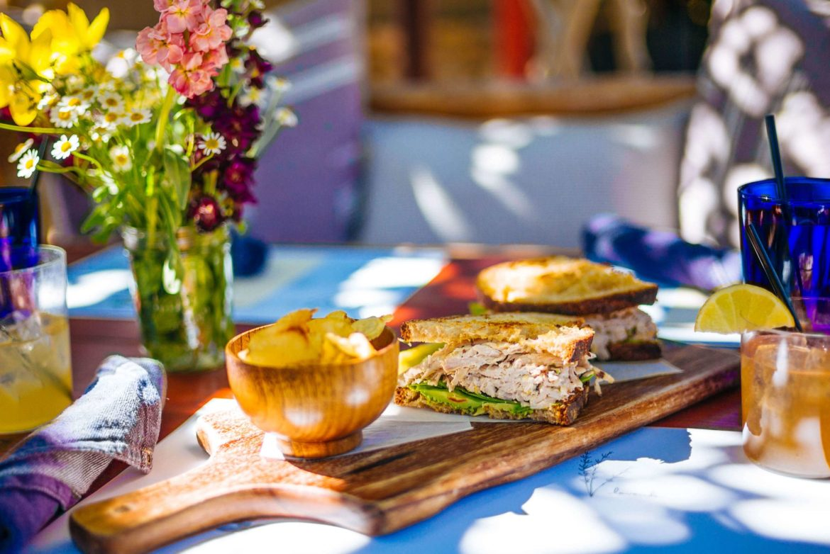 Visit the Barn Kitchen at Sparrows Lodge in Palm Springs for a delicious lunch under the orange trees and this perfect chicken salad sandwich for lunch, thetasteedit #hotel #salad #palmsprings #travel
