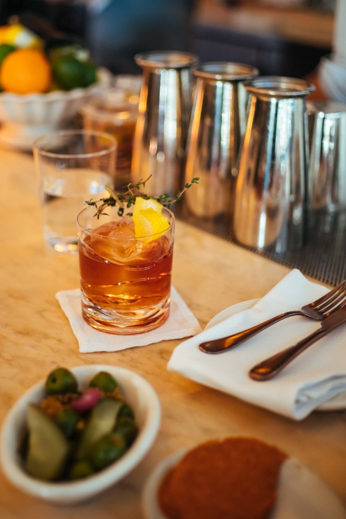 """The Taste Edit recommends for the best cocktails in Hollywood visit Chef Curtis Stone's Gwen in Los Angeles. For a twist on a Negroni, try the """"Negroni Reflection"""" made with Sloe Gin, Salers aperitif, thyme, amara, and raspberry"""