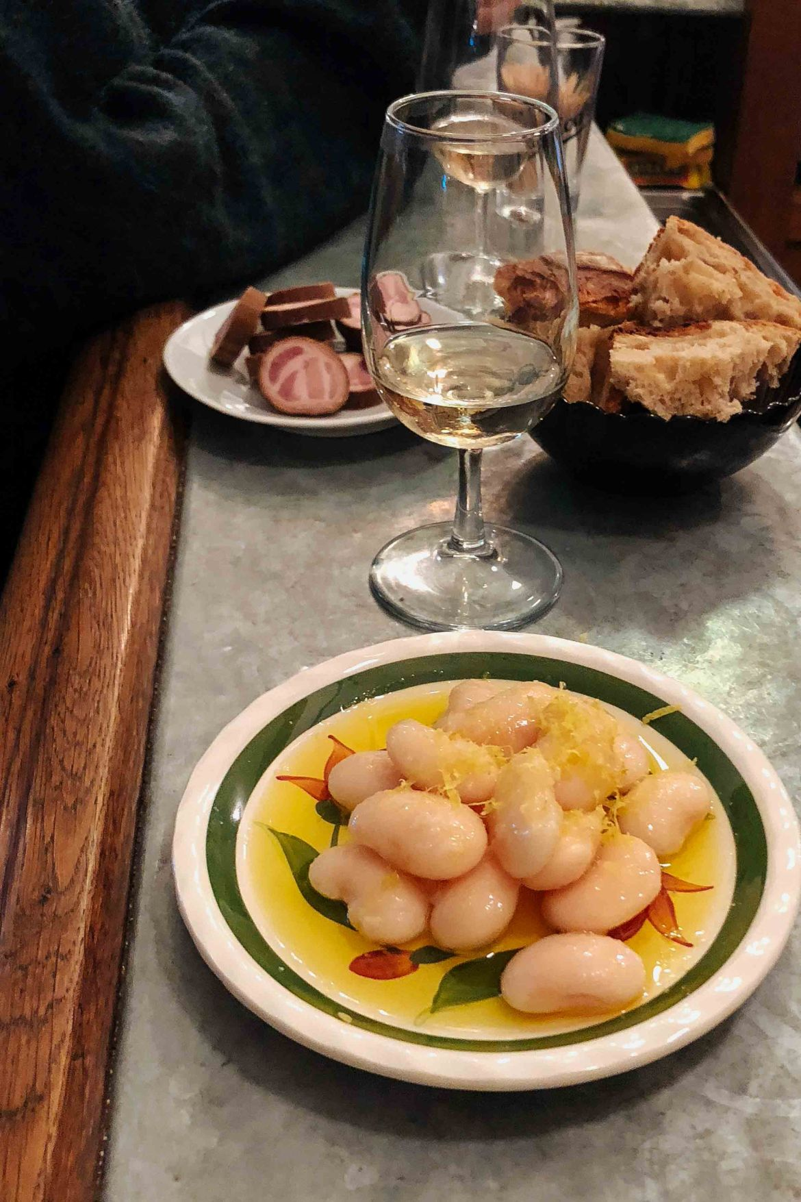 La Buvette wine bar in paris with their famous giant white beans in olive oil - photo by Kate Leahy