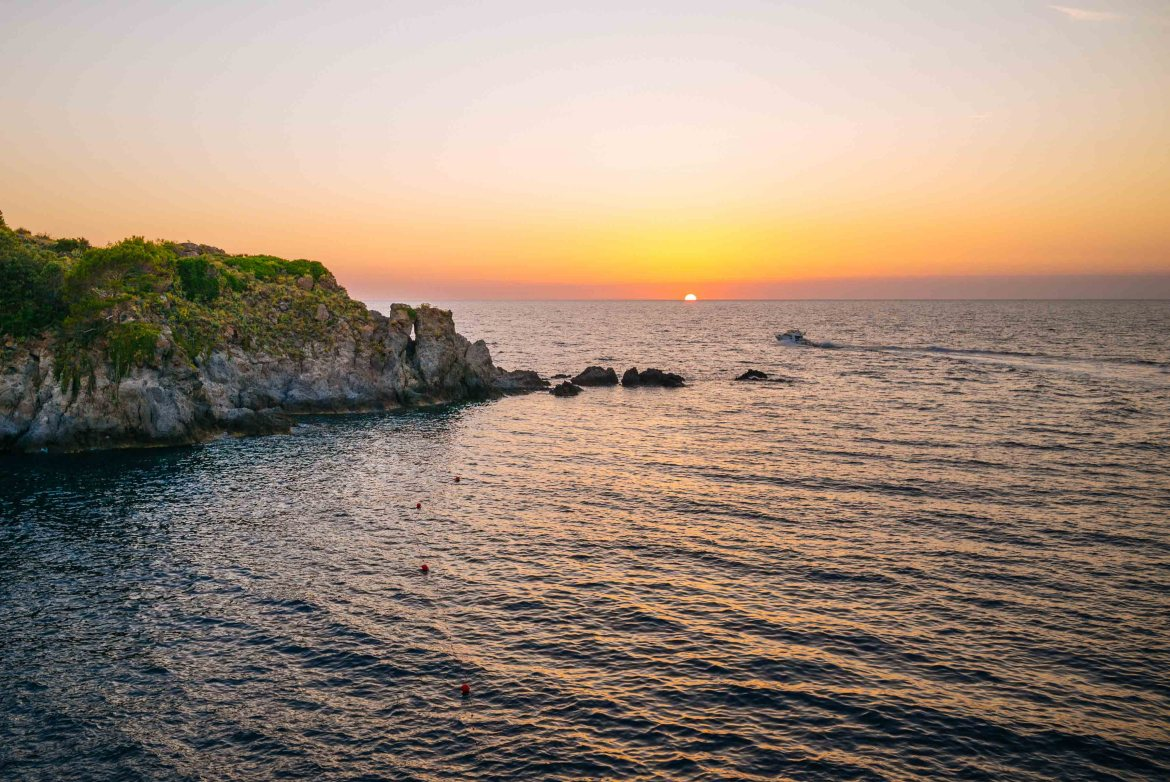 Sunset at the Mezzatorre Hotel and Spa in the Amalfi Coast. This is Ischia's best hotel that's been renovated by Il Pellicano group. Photo by The Taste Edit and Sarah Stanfield