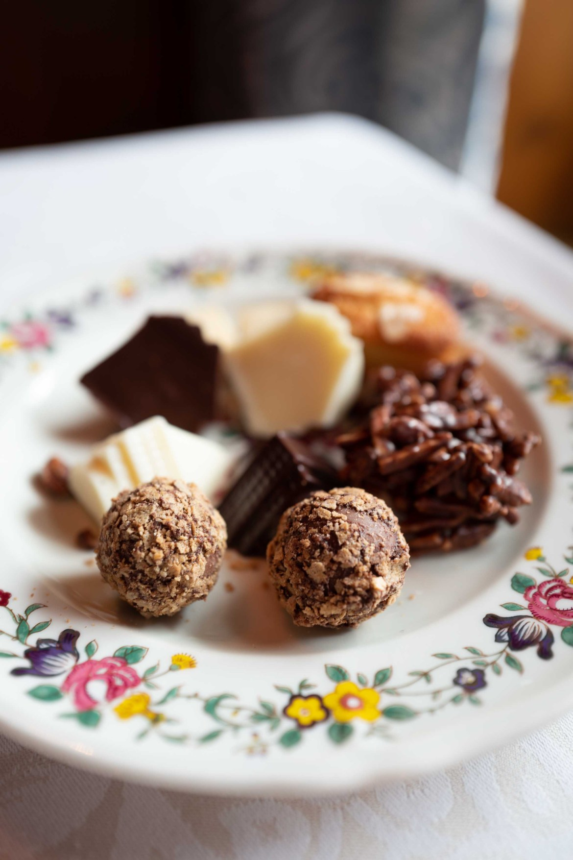 Finish your meal at Chesa Veglia with a delightful plate of chocolates   thetasteedit.com #travel #switzerland #stmoritz