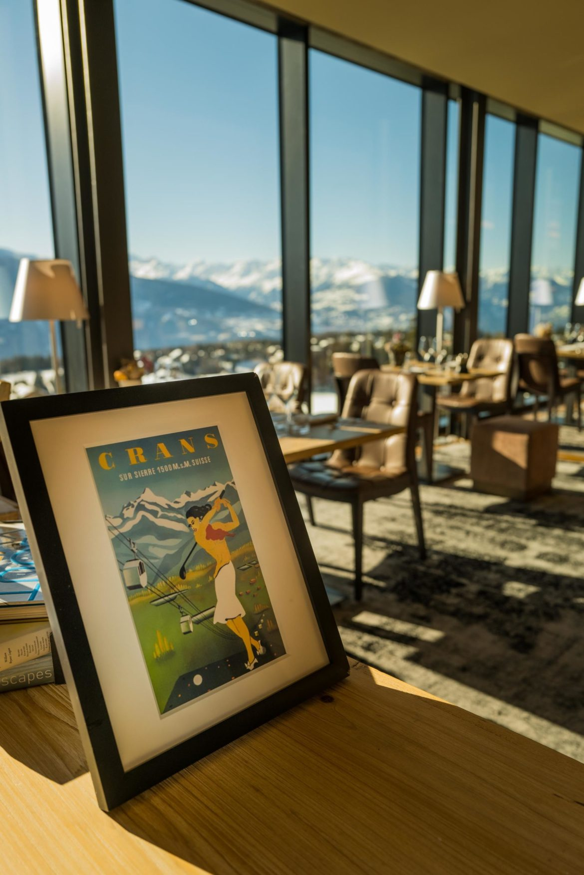 A cozy interior at the restaurant at Crans Ambassador Hotel in Crans Montana, Switzerland. By The Taste Edit #views #hotel