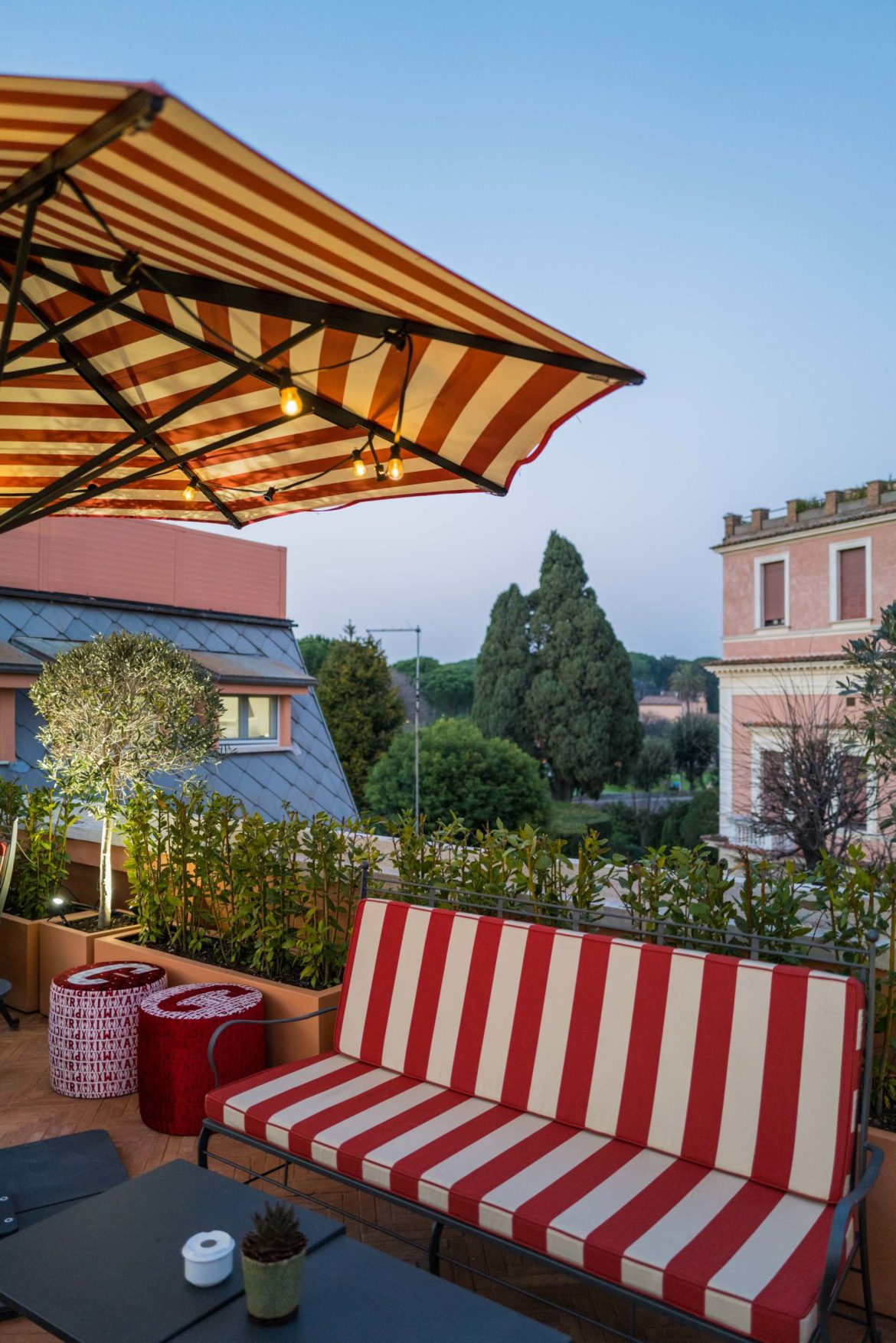 Enjoy the afternoon on Cielo Terrace rooftop at Rocco Forte's Hotel de la Ville Rome - The Taste Edit #rome #hotel #decor #travel