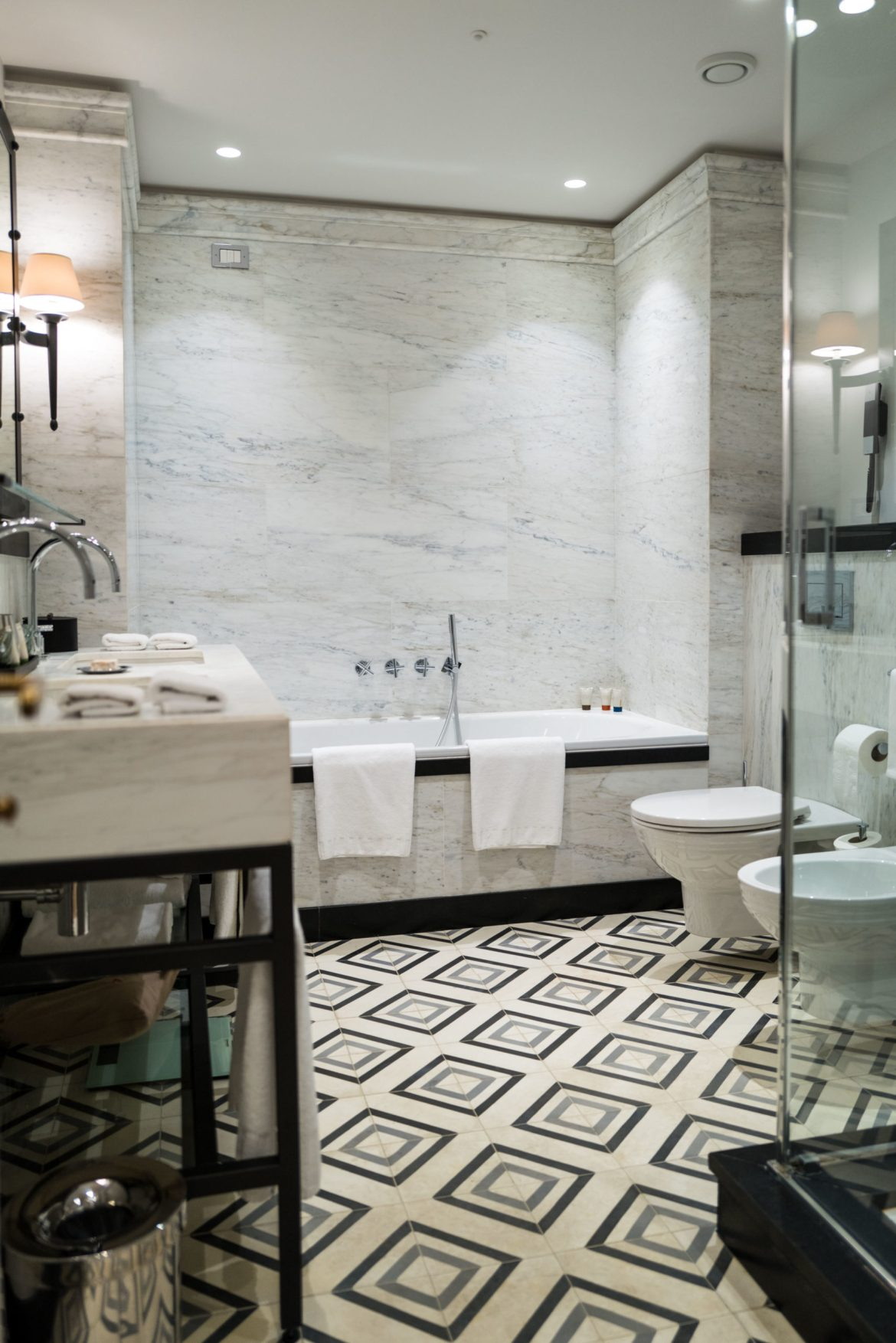 Draw a bubblebath after a long day of walking in Rome at Rocco Forte's Hotel de la Ville Rome - The Taste Edit #rome #hotel #decor #travel