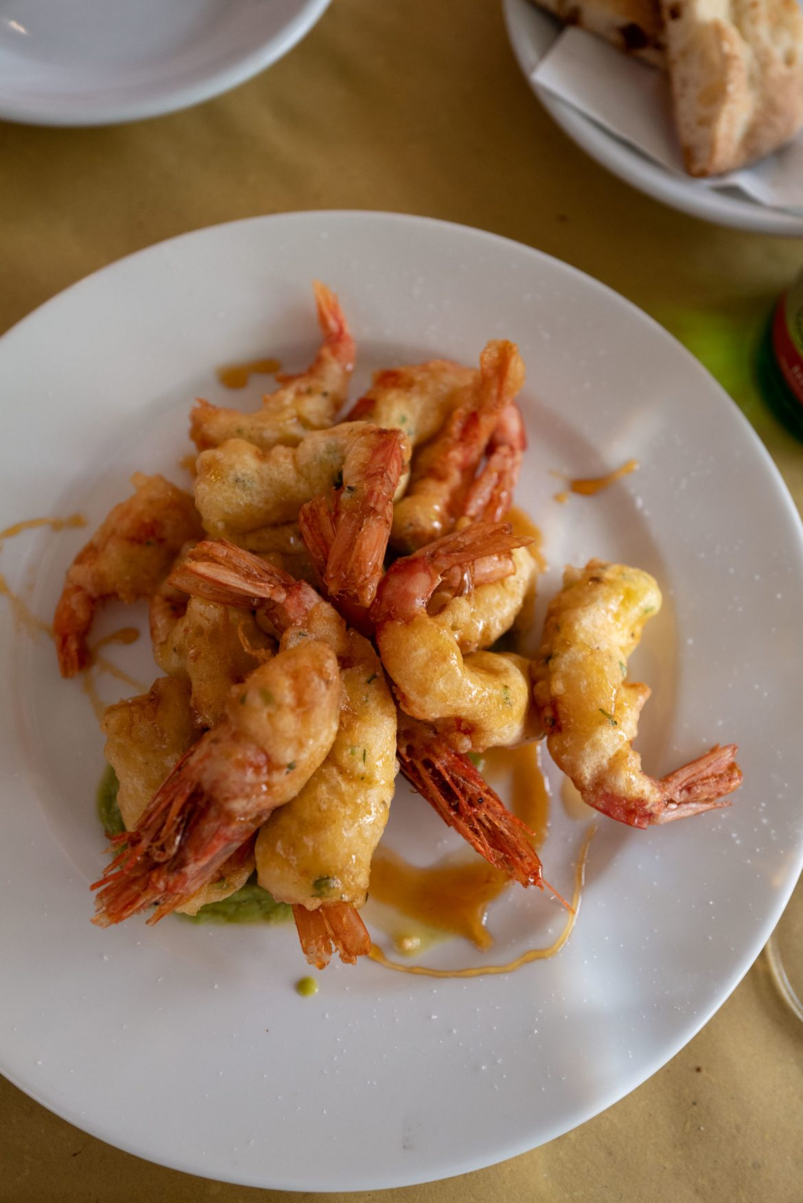 Order the shrimp tempura at Trattoria da Teo in Rome with a agrodolce sweet and sour date on top, The Taste Edit #pasta #rome #italy #shrimp