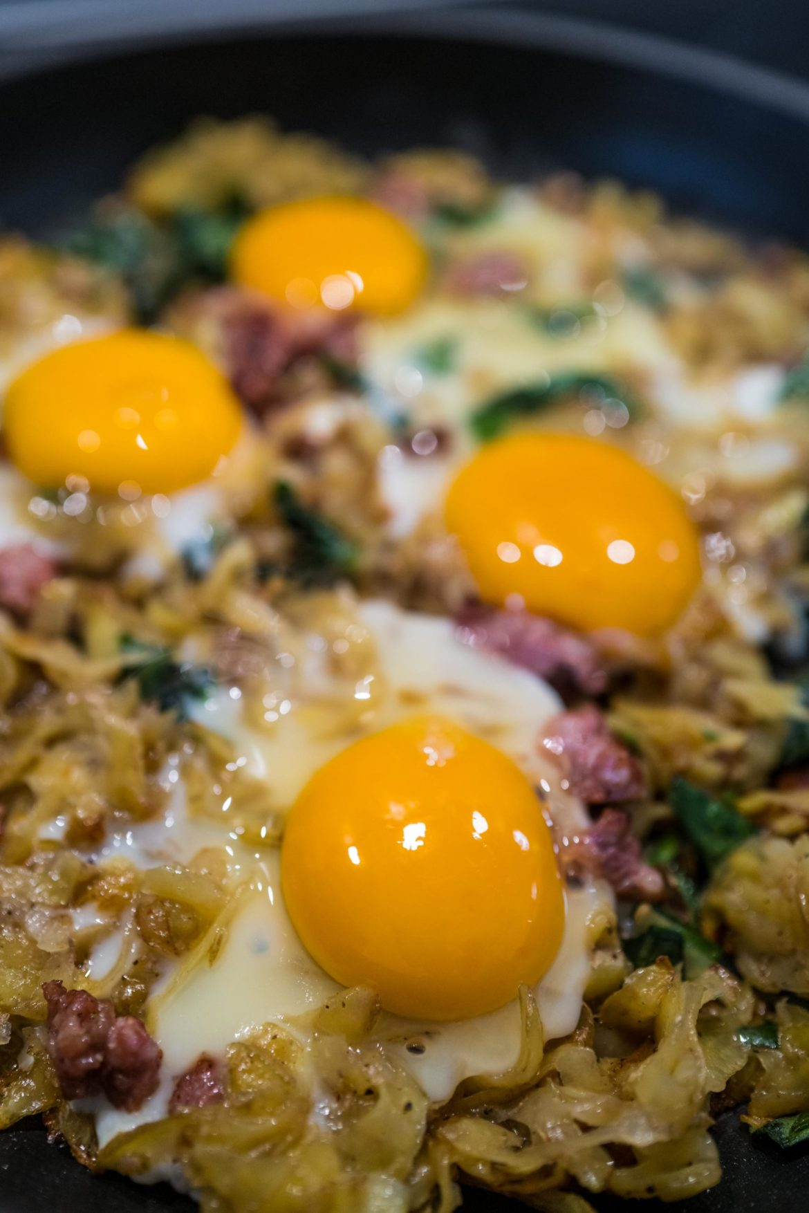 Top the homemade hash browns with farm fresh eggs for your breakfast or brunch. #eggs #hasnbrown #ramps