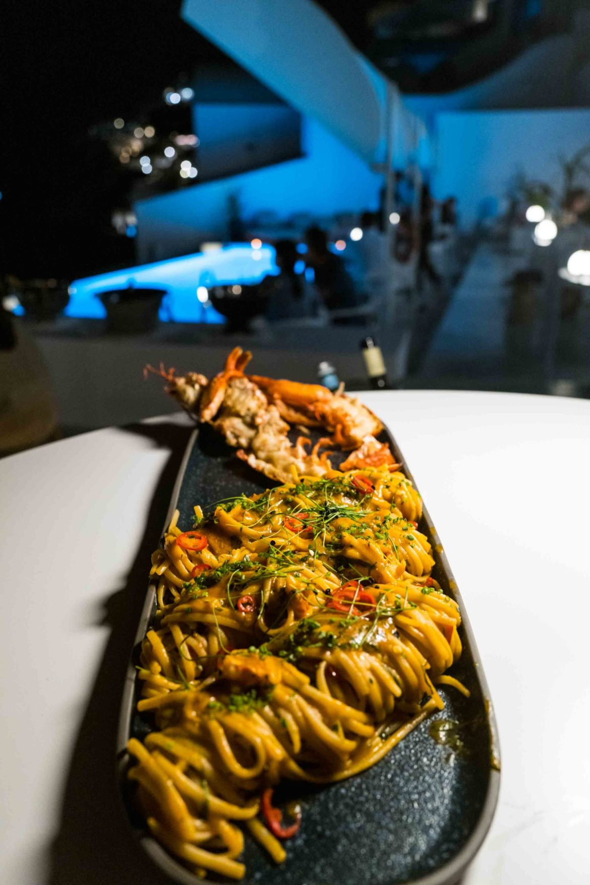 Chef Polychronis Damalas at Saint Suites Hotel Santorini Greece's lobster pasta for two