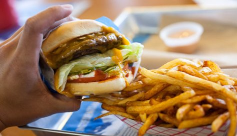 Elevation Burger with fries and Elevation sauce on the side