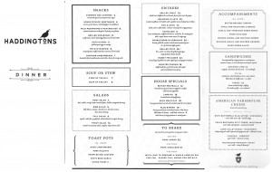 haddingtons full dinner menu (as of Feb 2011)