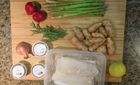 Blue Apron ingredients for Cod + spring vegetables