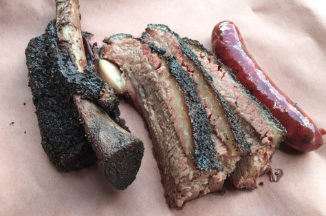 Beef rib, brisket, and sausage from Terry Blacks