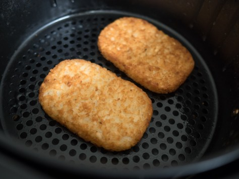 hash browns cooked in an airfryer