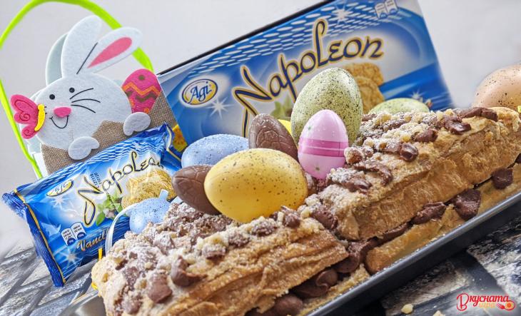 Торта Милфьой с шоколад и фъстъци БЕЗ печене
