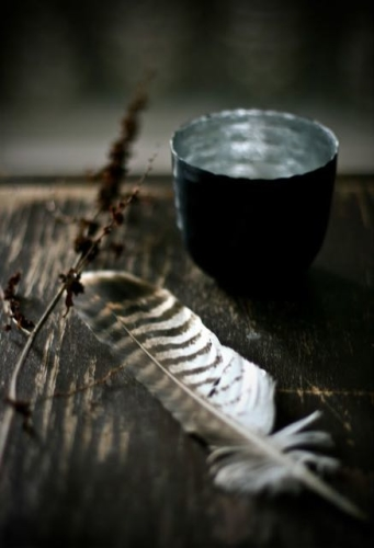 feather and bowl