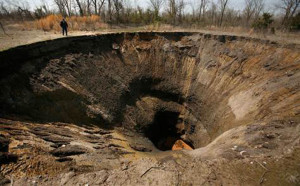 Collapsed mining pit near Picher