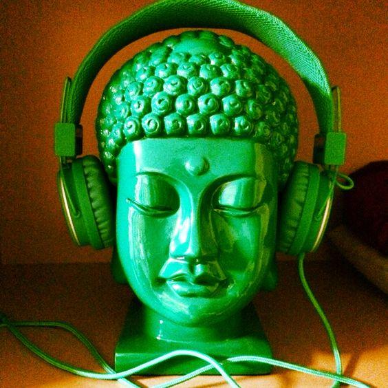 buddha with headphones