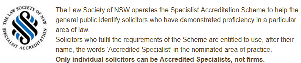 Law Society of NSW - Specialist Accreditation