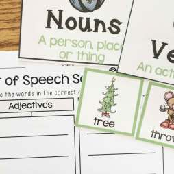 Christmas Literacy Centers- nouns, vowels, adjectives sort