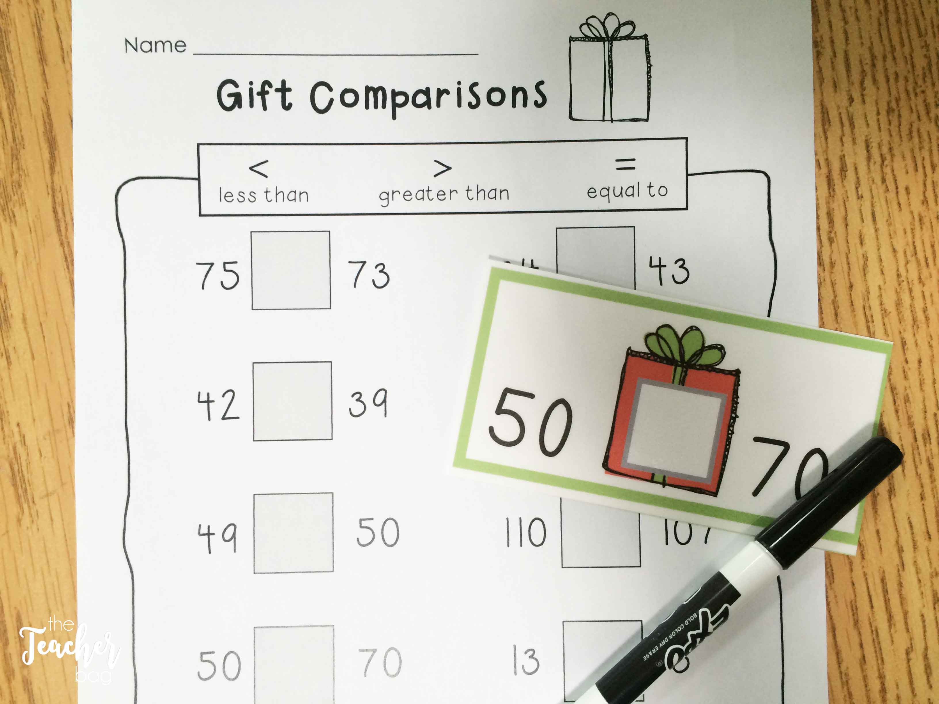 Christmas math- comparing numbers