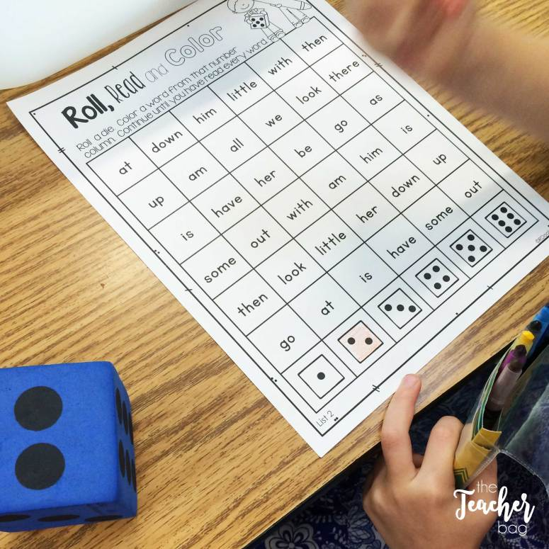 roll, read and color sight words activity