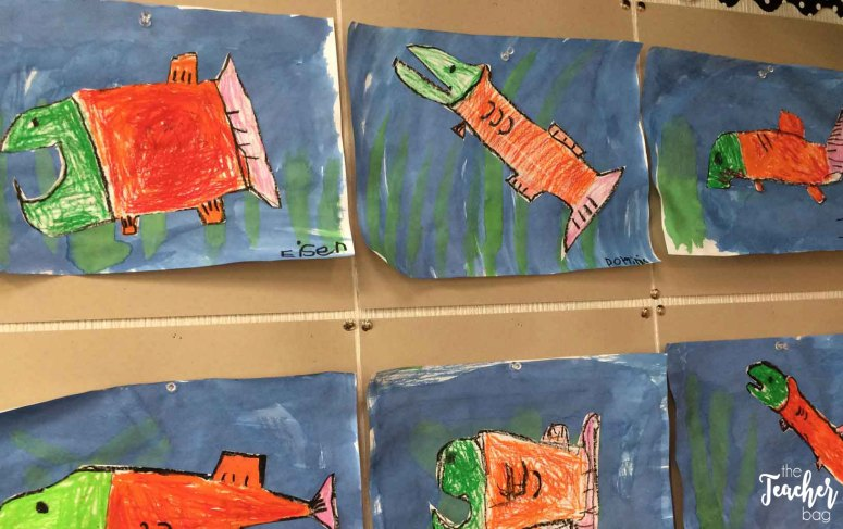 Direct draw salmon with oil pastels.