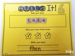 Building sight words with letter tiles.
