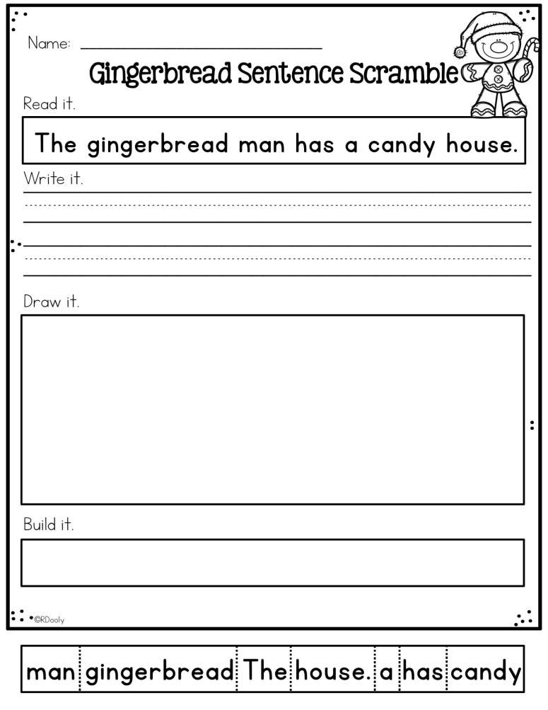 gingerbread sentence scramble