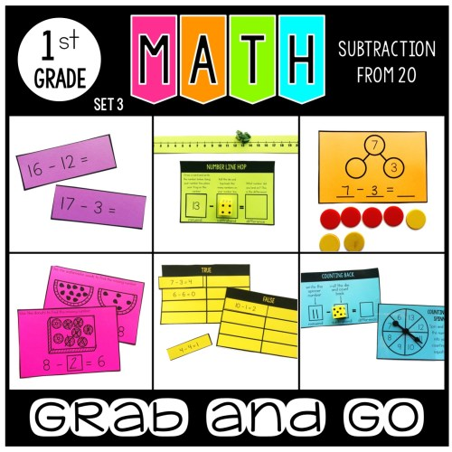 Grab and Go Math Subtraction from 20