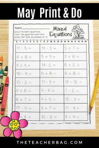 May No Prep Worksheet