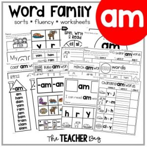 collage of word family papers