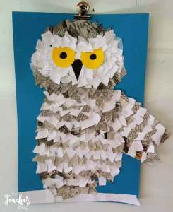 snowy owl art made with ripped paper