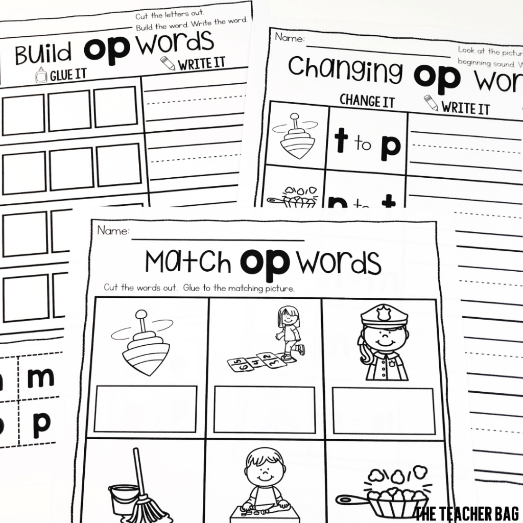 collage of worksheets