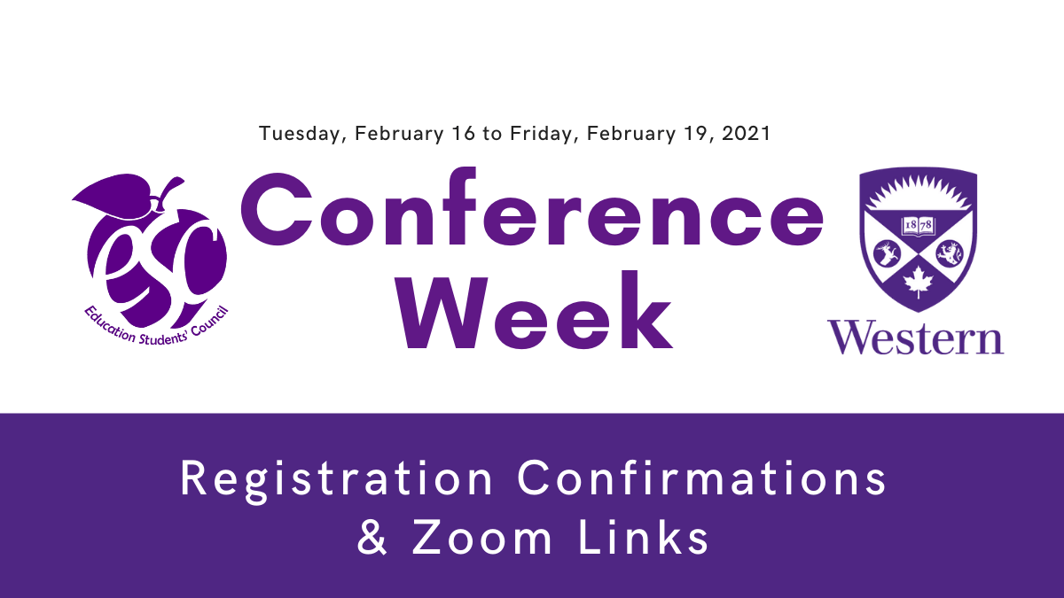 Conference Week - Registration Confirmations and Zoom Links header title