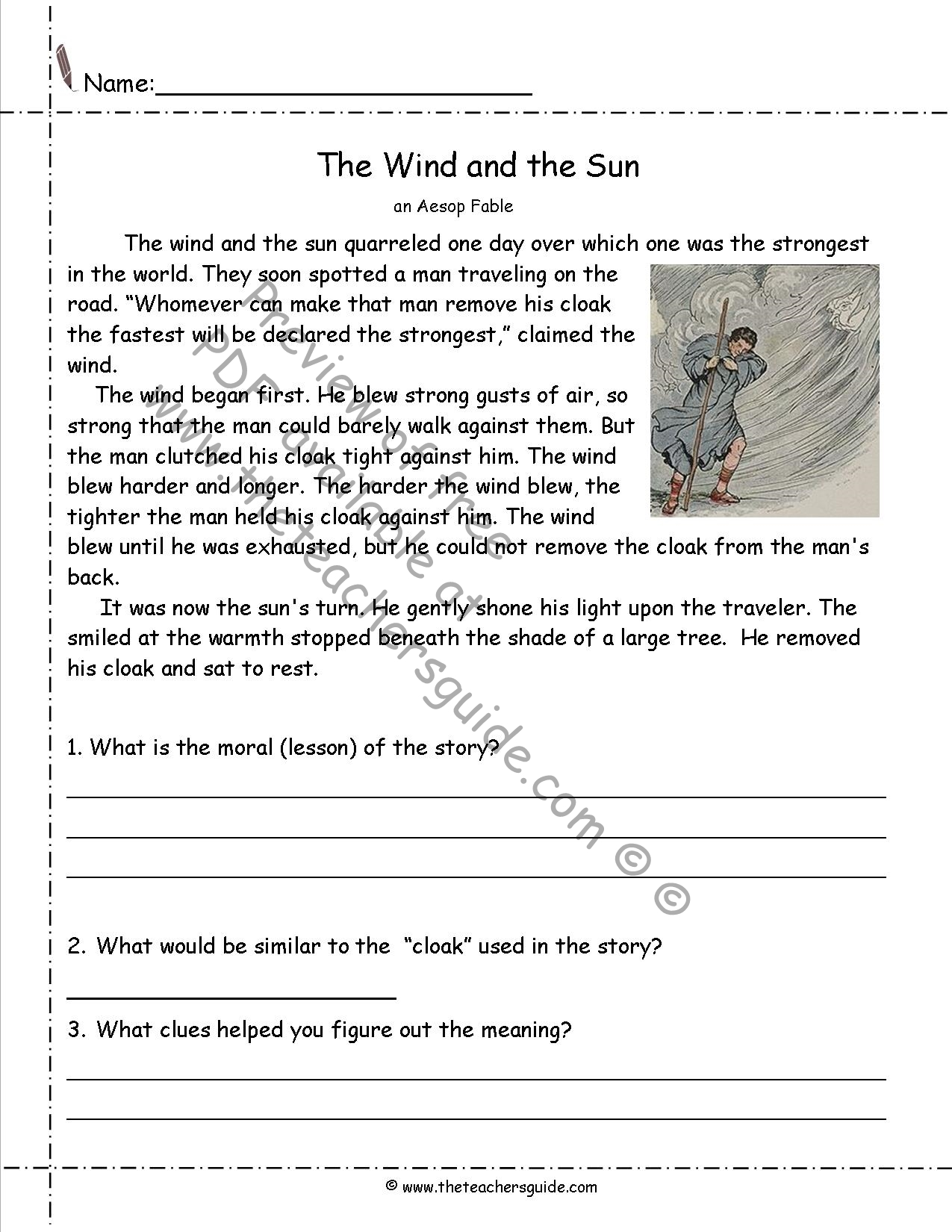 Fables Worksheets From The Teacher S Guide