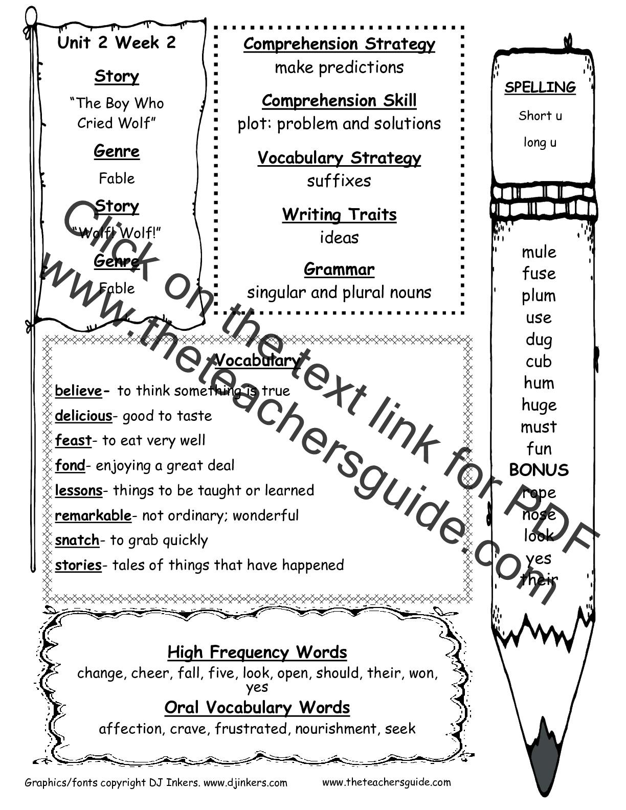 Wonders Second Grade Unit Two Week Two Printouts