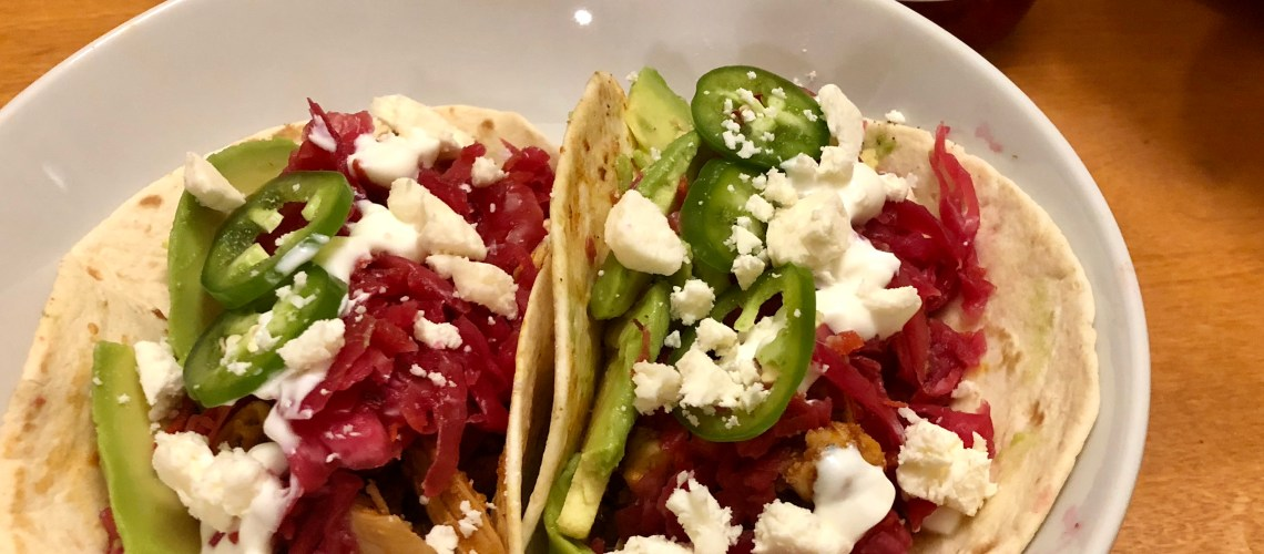 Quick Chicken Tinga Tacos with Lime Creme