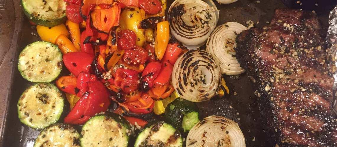 Grilled New York Strip Steak and Vegetables