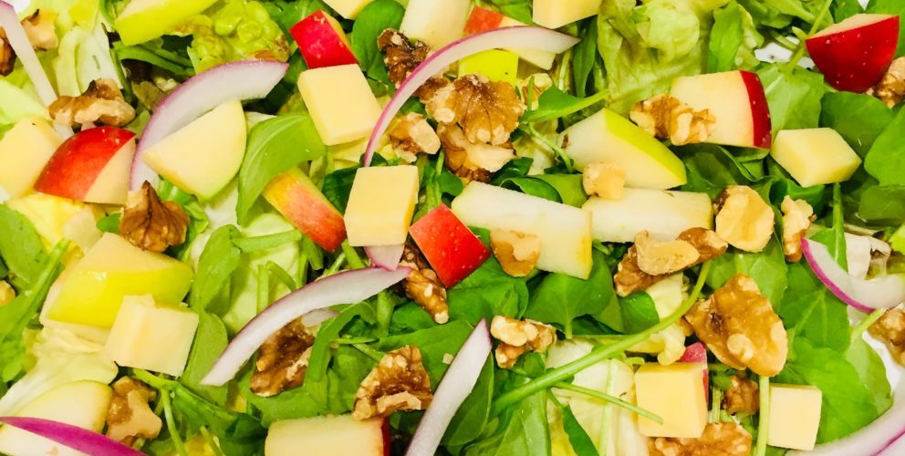 Apple Walnut Salad with Honey Mustard Dressing