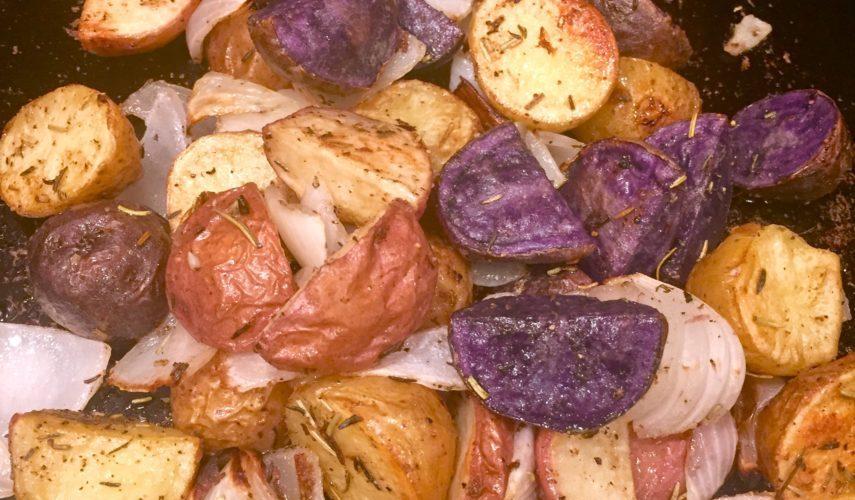 Roasted Rainbow Potatoes with Rosemary & Thyme