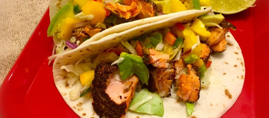 Chili Encrusted Salmon Tacos with Mango Avocado Salsa