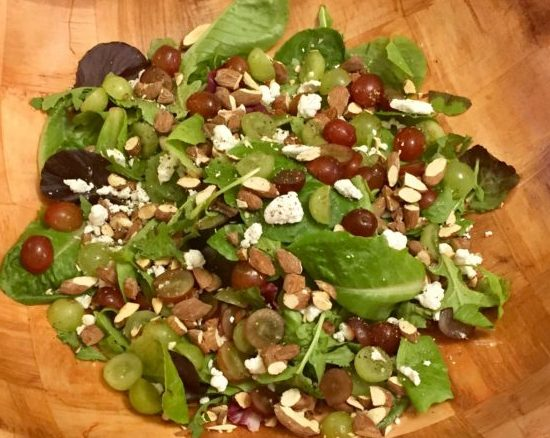 Mixed Greens with Grapes, Almonds, & Goat Cheese