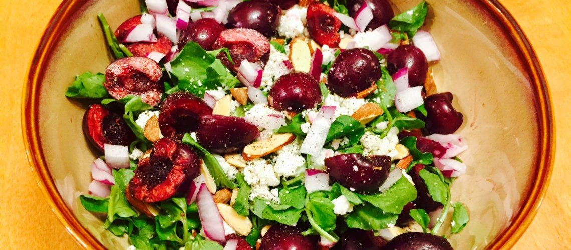 Cherry, Goat Cheese and Almond Salad