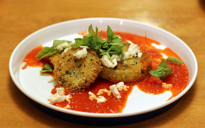 Crispy Breaded Fried Green Tomatoes with Roasted Red Pepper Coulis, Chevre, and Basil