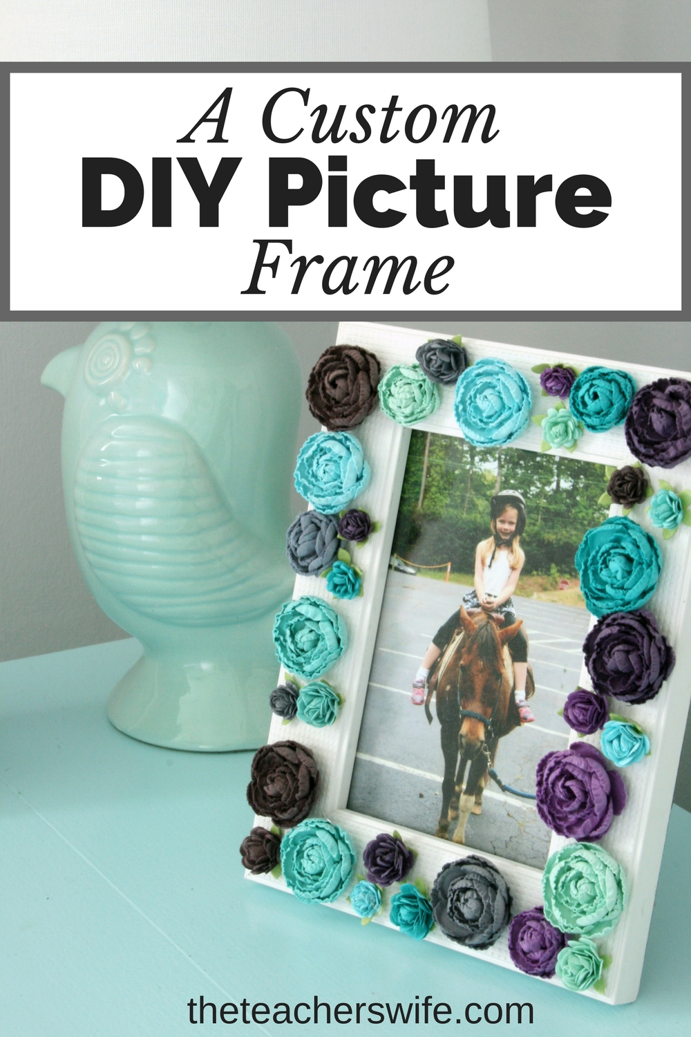This simple custom DIY picture frame was a cinch and is the perfect addition to my daughter's desk.