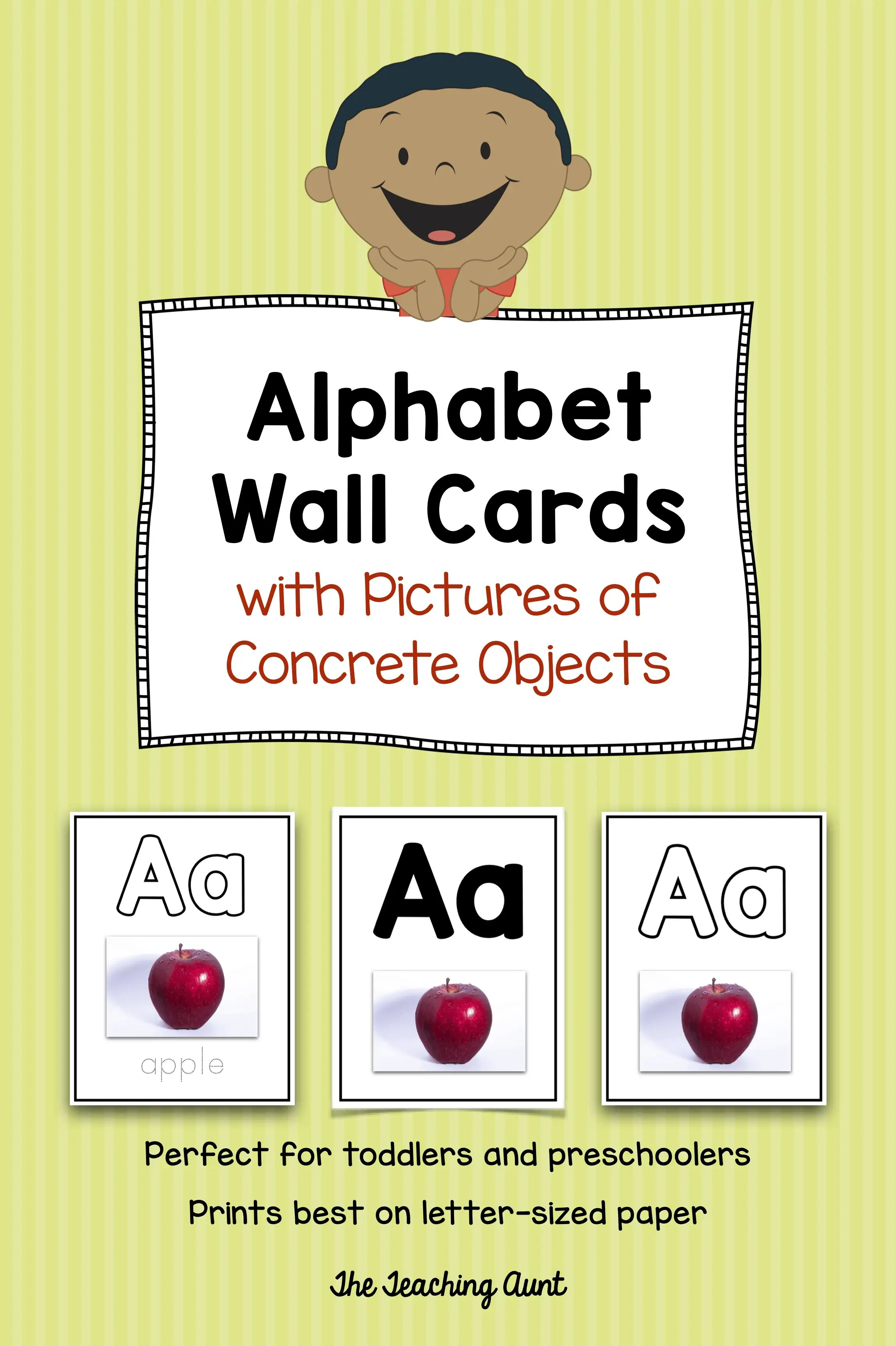 picture relating to Printable Toddler Flash Cards referred to as Alphabet Flashcards with Photos of Concrete Merchandise - The