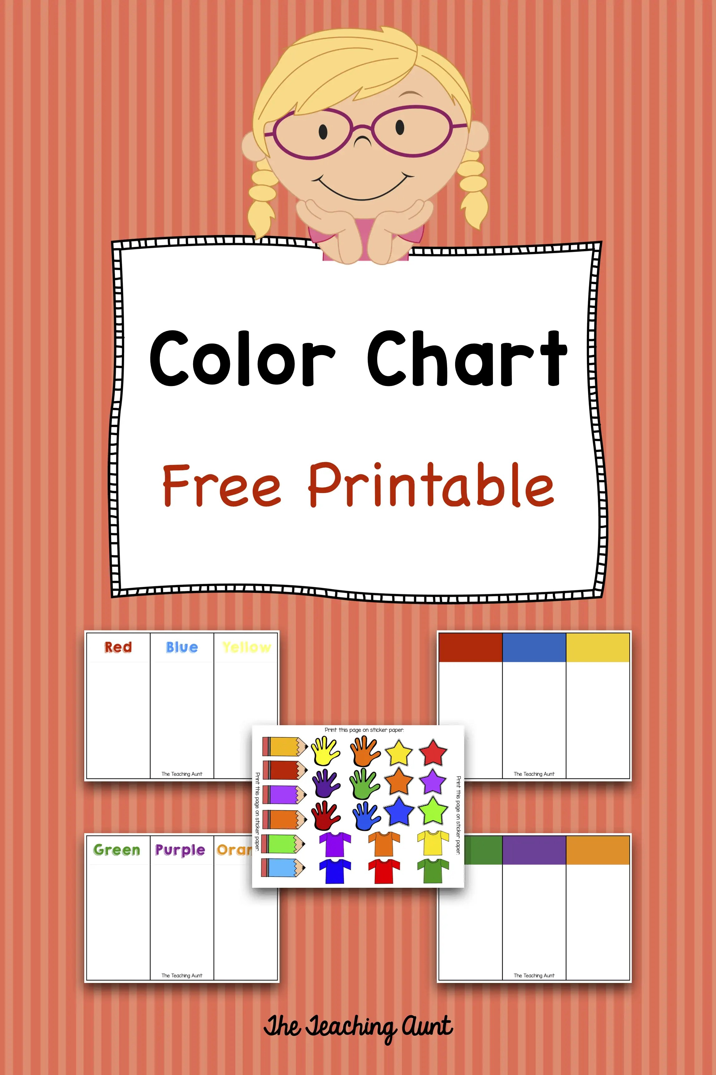 photograph relating to Free Printable Color Chart called Shade Charts for Infants and Preschoolers Totally free Printable