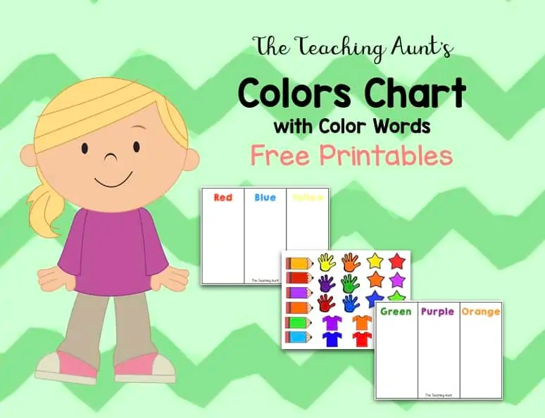 graphic about Free Printable Color Chart titled Colour Charts for Babies and Preschoolers Free of charge Printable