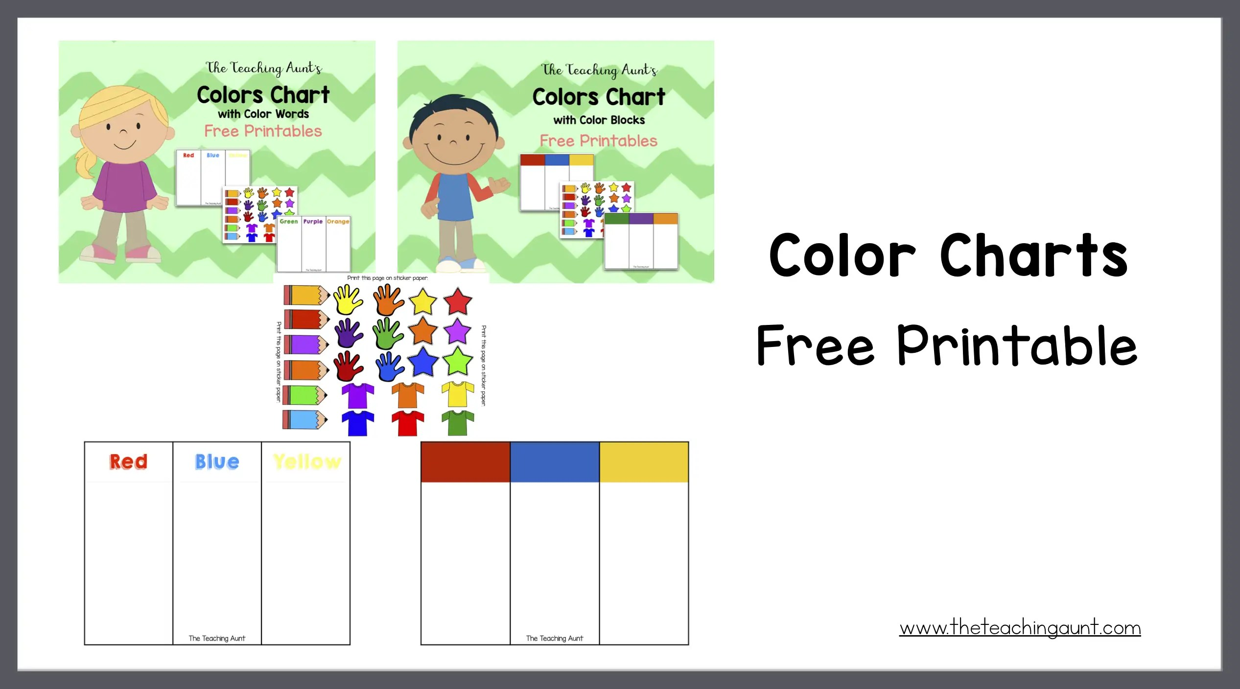 photo about Printable Colors titled Colour Charts for Infants and Preschoolers Totally free Printable