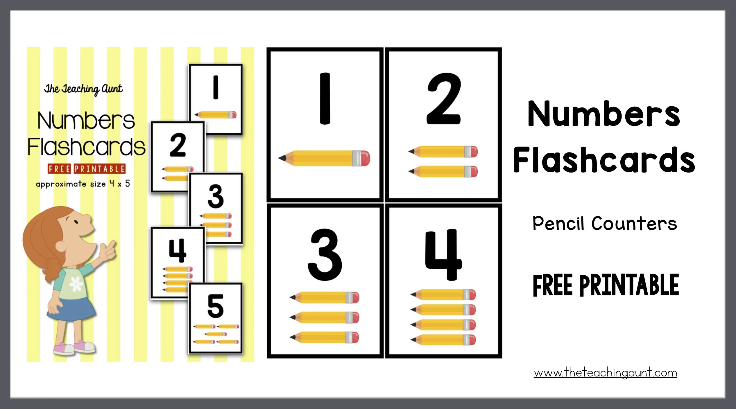 photo about Printable Number Flashcards named Quantities Flashcards Pencil Counters - The Coaching Aunt