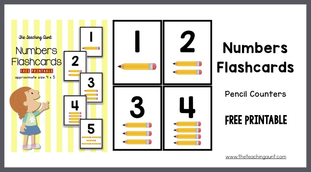 3c55fa1238366 Numbers Flashcards Pencil Counters - The Teaching Aunt